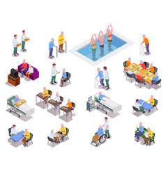 Nursing home isometric icons set vector