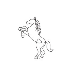 one single line drawing elegance jumping horse vector image