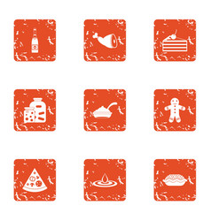 Pizza party icons set grunge style vector