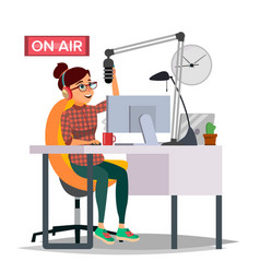 Radio dj woman broadcasting modern radio vector
