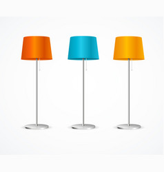 realistic detailed 3d floor lamp color set vector image