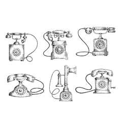 Rotary dial and candlestick phones sketches vector