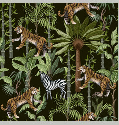 seamless pattern in chinoiserie style with tiger vector image