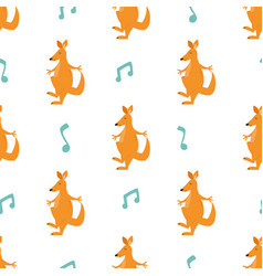 Seamless pattern with funny big kangaroos vector
