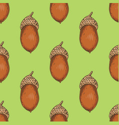 Seamless pattern with ripe acorn vector