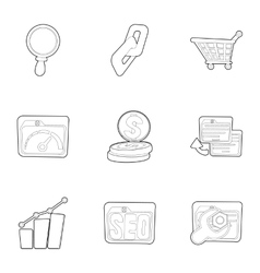 SEO optimization icons set outline style vector