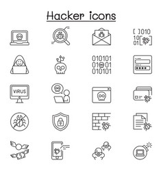 set hacker related line icons contains vector image