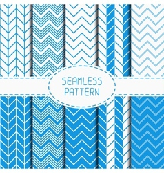 Set of blue fashion geometric seamless pattern vector image