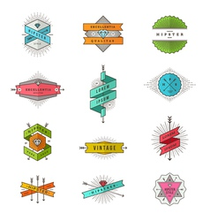 Set of colored hipster line signs and emblems vector image