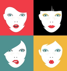 Set of colorful girl faces concept vector image