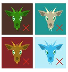 Set of flat goat animal farm icon vector