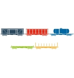 Set of Railway freight cars vector image
