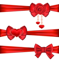 Set red gift bows ribbons with rose and heart vector image