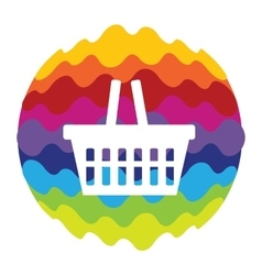 Shopping bag rainbow color icon for mobile vector