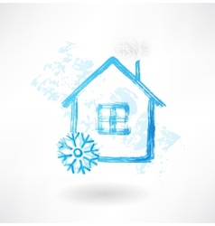 Snow house grunge icon vector