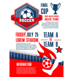 soccer sport competition banner of football match vector image