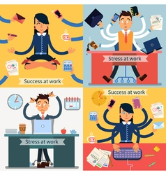 Success and Stress at Work Set of Banners vector image