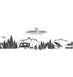summer camp seamless pattern vector image