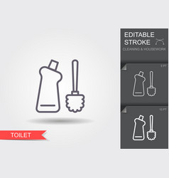 toilet brush and bottle with cleaner line icon vector image