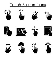 touch screen icon set vector image