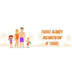 Travel organization banner with lettering vector