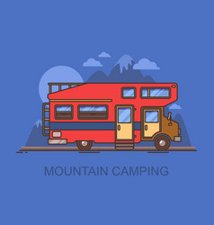 Truck camper or recreational vehicle near mountain vector