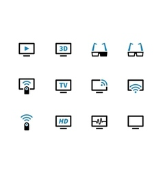 TV duotone icons on white background vector image