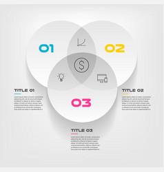 Venn diagram infographics for three circle design vector
