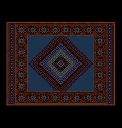 Vintage ethnic dark burgundy carpet with blue vector