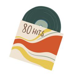 vintage vinyl plate with hits eighties 80s vector image