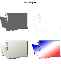 Washington outline map set vector