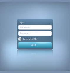 Web login panel with button on blue vector