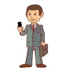 a businessman is standing with a phone in his hand vector image