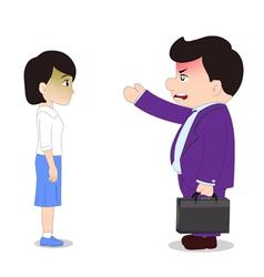 Businessman Cartoon boss man firing an employee vector image