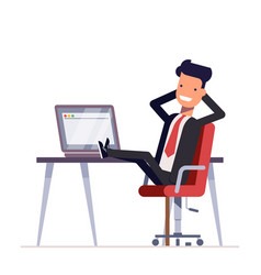 businessman or manager sits in a chair his feet vector image vector image
