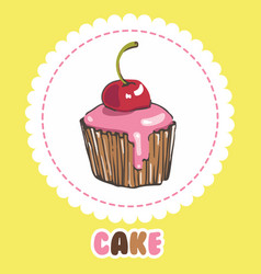 cupcake with glaze and cherry cake icon vector image