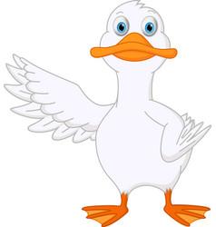 cute duck cartoon presenting vector image vector image