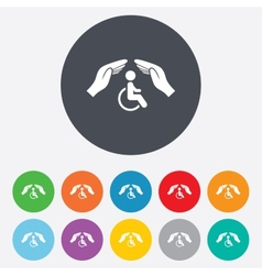 Disabled human insurance sign Hands protect vector image vector image