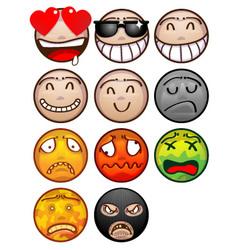 face emoticon set vector image vector image