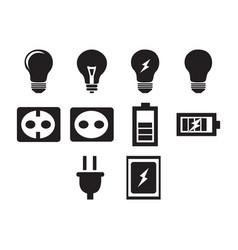 Flat black electric icon set vector