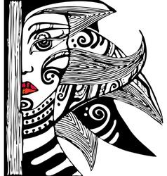 Girl Face Half vector image vector image