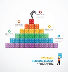 Infographic Template step building Pyramid blocks vector image