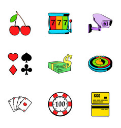 poker icons set cartoon style vector image vector image