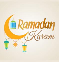 ramadan kareem crescent moon and lantern lamps vector image vector image