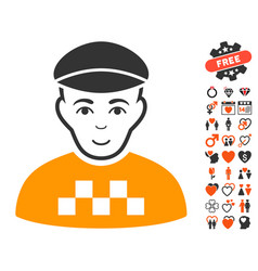 taxi driver icon with lovely bonus vector image vector image