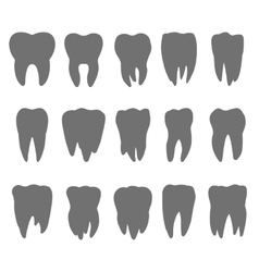 teeth silhouette icons vector image vector image