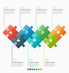 infographic template with 7 puzzle sections vector image vector image