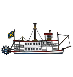the old paddle steam riverboat vector image vector image