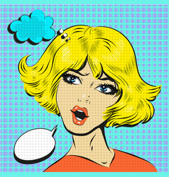 blond woman shocked surprised pop art comic style vector image vector image