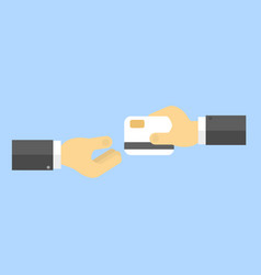 businessman gives a bank card to another vector image